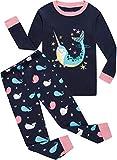 Girls Whale Pajamas 100% Cotton Kids Christmas Pyjamas Top & Pants Sleepwear Set 5Y