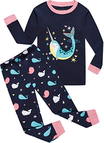 Whale Girls (Girls Whale Pajamas 100% Cotton Kids Christmas Pyjamas Top & Pants Sleepwear Set 5Y)