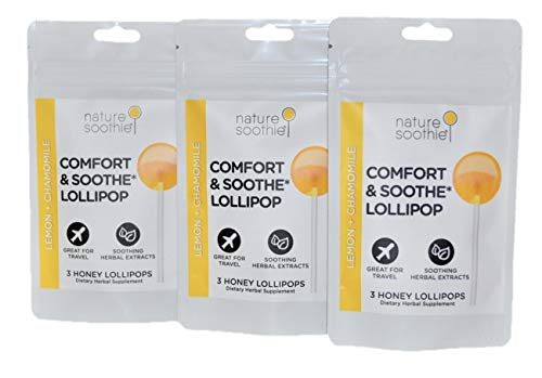 nature soothie Comfort Honey Lollipops Herbal Supplement - Kids & Adults Throat Soothing Pops - Natural Real Honey Chamomile & Lemon Suckers - 3 Count (3 Packs)