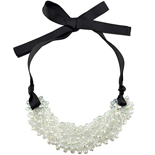 Firstmeet FIRSTMET Handmade Ribbon Bow Glass Beaded Collar Necklace for Women (XL-1042-white)
