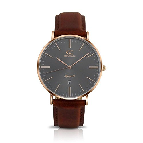 Gelfand & Co. Men's Minimalist Watch Brown Leather Remsen 40mm Rose Gold with Gray Metallic Dial