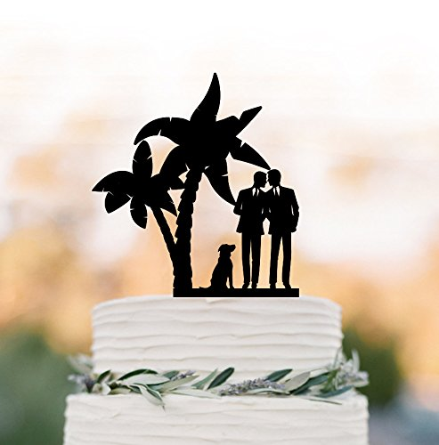 Gay Wedding Cake Topper With Dog Gay Silhouette Same Sex Mr And Mr Funny Tree Unique Cake Topper For Wedding Anniversary Gifts Wedding Party Favors Cake Toppers by Dikoum