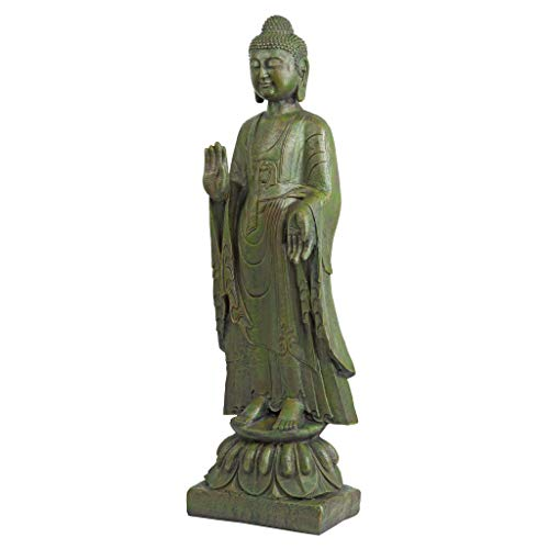 Buddha Hand Statue - Design Toscano JE142050 Enlightened Buddha Asian Decor Garden Statue, 40 Inch, Bronze Verdigris Finish