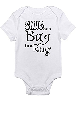 (Promini Cute Baby Onesie - Snug as a Bug in a Rug - Funny Bodysuits Baby Romper White)