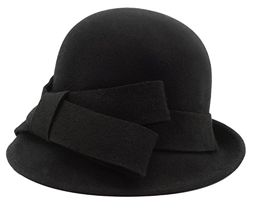 Bellady Women Solid Color Winter Hat 100 percent Wool Cloche Bucket with Bow Accent,Black, One Size -