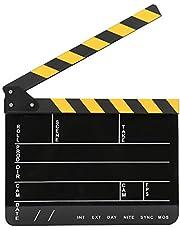 Movie Film Clapboard,30x25CM Acrylic Filming Clapboard,Director Action Clapper Board Clapperboard Photography Accessory (Yellow Stripe Black Board)