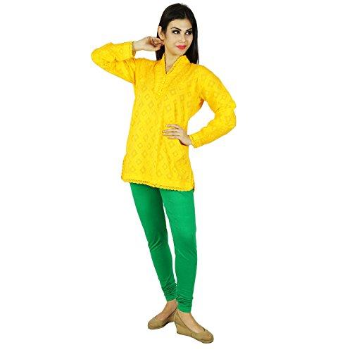 Boho del verano llenas superiores de las mangas bordado Vestido de tirantes regalo Casual Túnica para las mujeres Amarillo