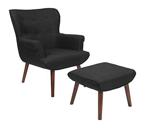 Offex OFX-465945-FF Fabric Upholstered Wingback Chair with Ottoman - Black
