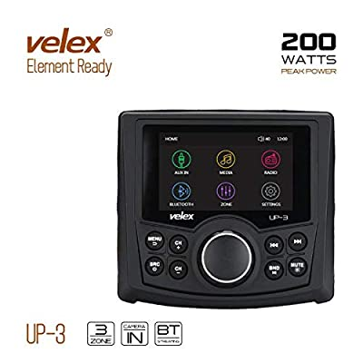 Powersports UTV Stereo AM/FM with Bluetooth Streaming 3 Zone, Compatible to Rear View Camera, External Amplifier Switch: Home Audio & Theater [5Bkhe1007121]