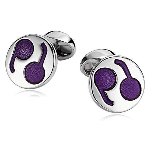 KnSam Stainless Steel Cufflinks for Mens Irregular Pattern Enamel Round - New Dolce Gabbana York And