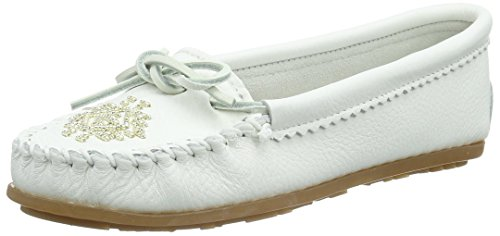 Minnetonka Women's Deerskin Beaded Moccasin White 8 M - Deerskin Moccasin