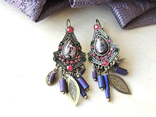 Stunning Colorful Antique Dangle Earrings Sparkling Hanging Earrings, Earrings special occasion, Long Hanging earrings, Designer Earrings