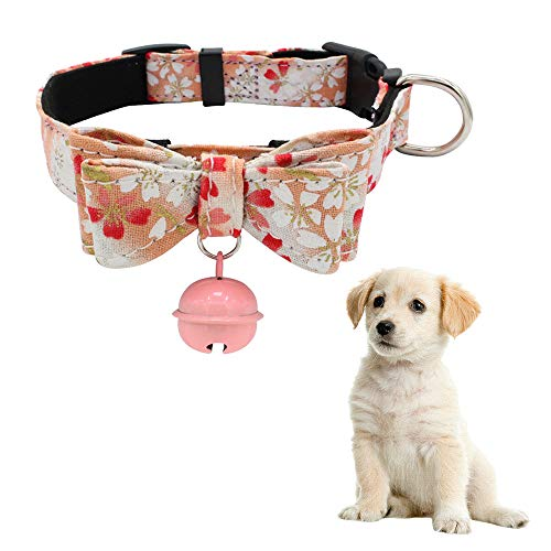 Hpapadks Detachable Bow Hanging Bells Pet Dog Collar,Adjustable Bow Necklace Printed Collar with Bell Dog Puppy Pet Dog Collars ()