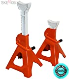 SKEMiDEX--- 2pc 3 Ton 6600 LB Car Automotive Jack Stand Capacity 6600LBS Self locking ratchet type all steel construction Large ductile white V-cut iron saddle Orange enamel finish.