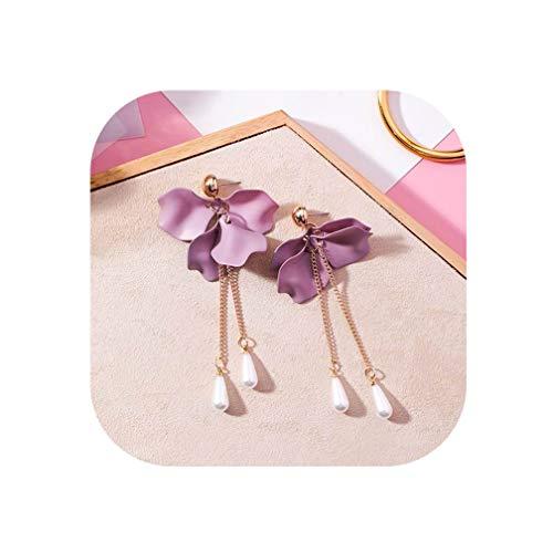 New Korean Trendy Jewelry Purple Petal Flower Long Fashion Simulated Pearl Tassel Earrings For Women,Chain Pearl