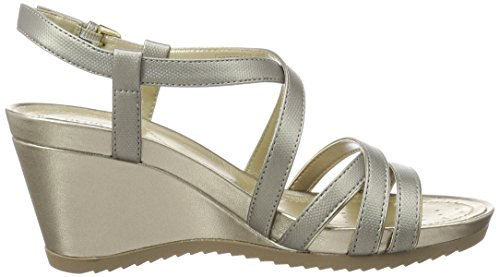 Geox D New Rorie B, Sandalias con Cuña para Mujer Plateado (DK SILVER/CHAMPAGNEC1AB5)