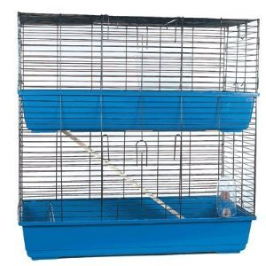 Doble 100 cm grande azul interior Conejo cobaya Hutch jaula Run ...