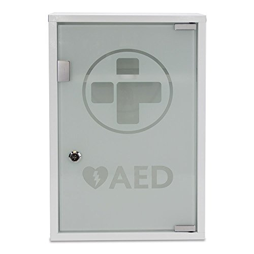 - Reliance Medical 3098 Alarmed AED Metal Wall Cabinet, Metal/Glass