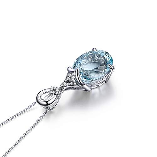 Finedayqi ❤ Women Topaz Carat Natural Aquamarine Plating 18K Inlay Necklace Pendant
