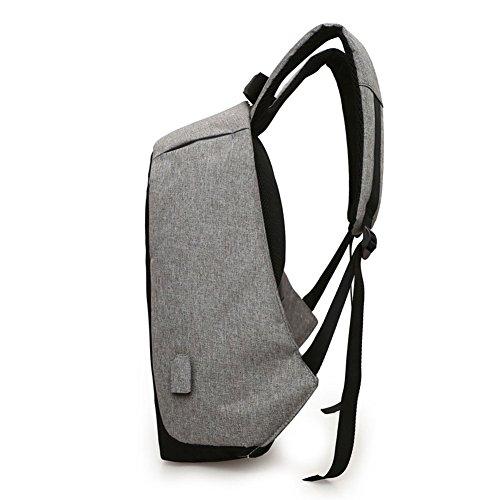BSTcentelha Mochila antirrobo Mochila de puerto USB Mochila para portátil Ligera Ligera Impermeable para Escuela / Viaje (Gris) Gris