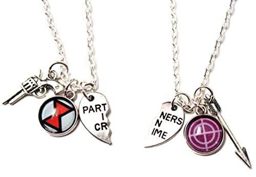 Mainstreet247 Black Widow Hawkeye BFF 2 Piece Split Heart Metal Pendant Necklace Set -