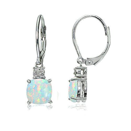Sterling Silver Created White Opal Cushion-cut Dangling Leverback Earrings