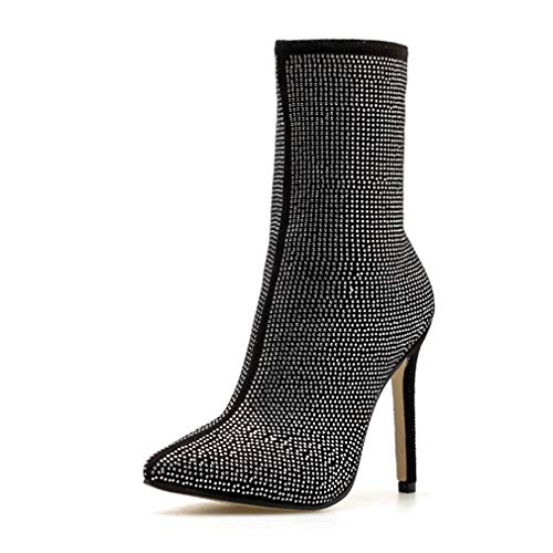 CYBLING Women's Pointed Toe Embellished Stretch Booties High Heel Stiletto Rhinestone Ankle Boots Black