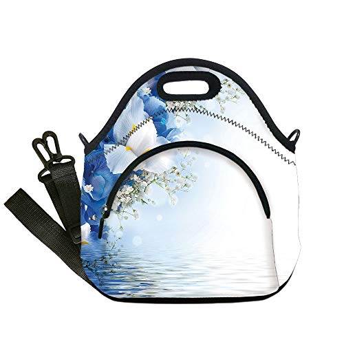 Dreamy Hydrangea (Insulated Lunch Bag,Neoprene Lunch Tote Bags,Light Blue,Blue Hydrangeas and White Irises over The Sea Romantic Bouquet Dreamy,Blue Light Blue White,for Adults and children)