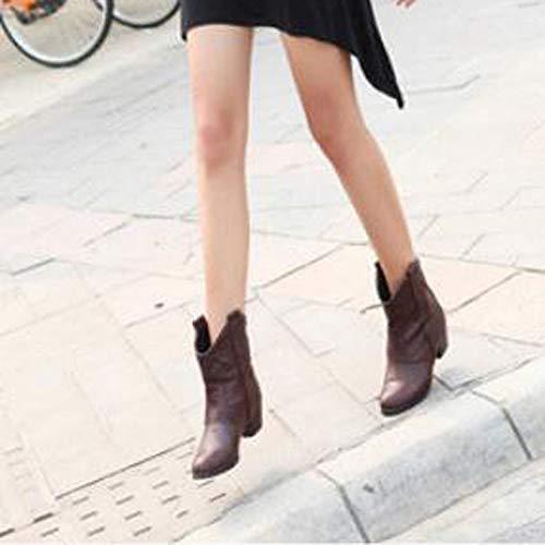 Botas Militares Moda 2018 Otoño Antideslizante Cuero cuña Tacón Invierno Damas Botas Marrón para Zapatos Señora de Ancho Mujer Botas campera Militares Calzado PU para la PAOLIAN Talla Grande wxwq80fdr