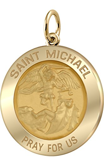 Women's 14k Yellow Gold Saint Michael Polished Finish 0.625in Solid Round Pendant by US Jewels And Gems