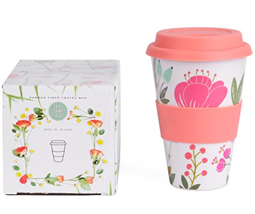 Boo In Bloom Reusable Coffee Tea Travel Mug, Bamboo Fiber, 15 ounce, Eco friendly & Dishwasher safe, Leak Resistant, Cute//Flower//Travel Cup with Silicone Lid and Sleeve for Women - Bloom Coffee