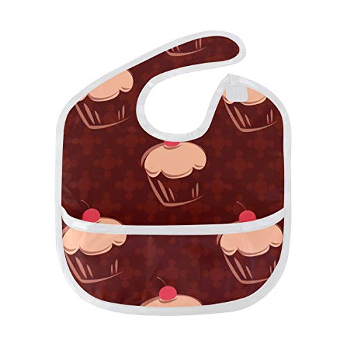LORVIES Cherry Cupcakes Baby Feeding Bib Waterproof Saliva Apron with Crumb Catcher Reflux Drool Teething for Baby Toddler Kids Infant