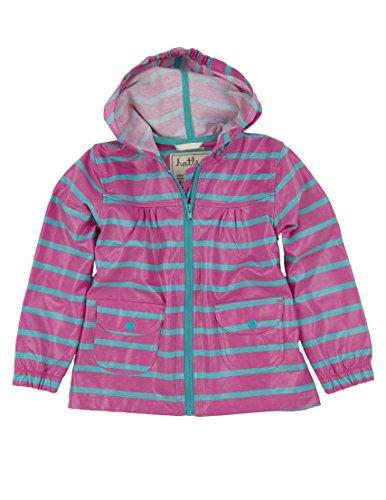 Hatley Little Girls' Unlined Stripes Raincoat, Pink Stripes, 5 by Hatley