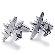 Konov Jewelry 2pcs Classic Novelty Personalized Fighter Plane Shirts Mens Cufflinks, Silver, 1 Pair, with Gift Bag, C21573