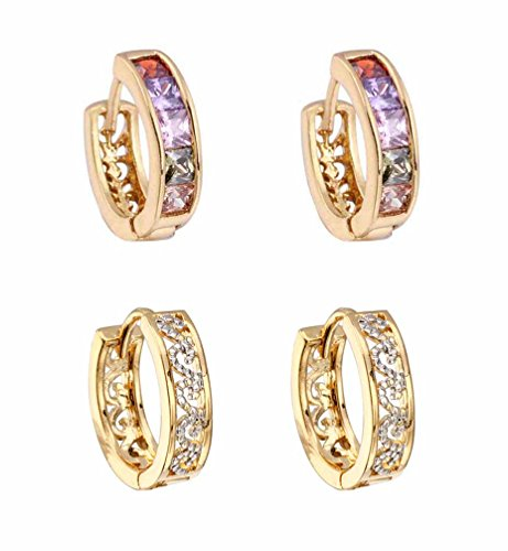 2 Pairs 18k Gold Hoop Huggie Earrings CZ 13mm Round Stud Earrings for girls Women