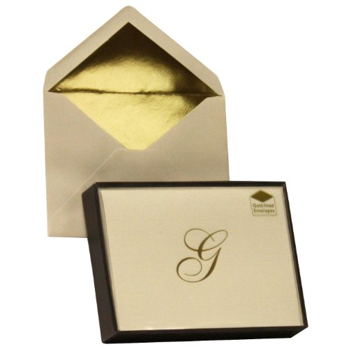 Designer Greetings Monogram Boxed Note Cards, Personalized Stationery Set (10 Count), Letter G