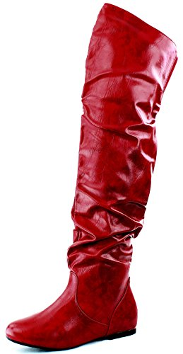 DailyShoes Women's Fashion-Hi Over the Knee Thigh High Boots, Red PU, 13 B(M)