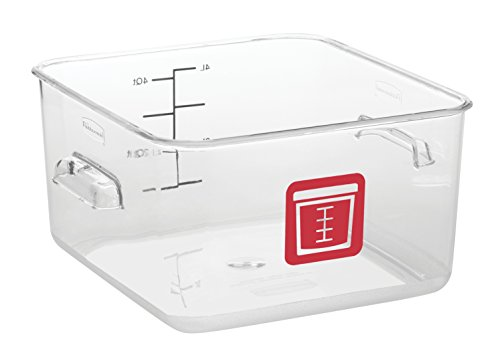 Rubbermaid Commercial Products 1980321 Square Plastic Food Storage Container, Red Label, 4 Quart, Clear