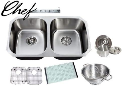 Chef Series 32 Inch Premium 16 Gauge Stainless Steel Undermount 50 50 Double Bowl Kitchen Sink with Free Accessories