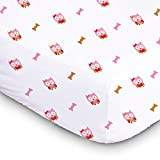1 Soft & Cozy Fitted Muslin Cotton Baby Crib Sheet For Deep Sleep. Cute Pink Owls For Girls, Infants, Toddlers Christmas Gifts. 28