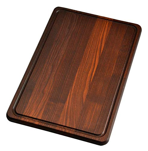 NaturalDesign Cutting Board 18 x 12 x 0.8 in Edge Grain Chopping Block with Juice Groove Thermo Ash-tree Wood Hardwood Extra Thick Serving Platter Durable & Resistant (Dark Wood Cutting Board)
