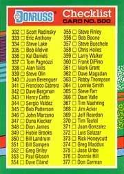 Amazoncom 1991 Donruss Baseball Card 500 Checklist Mint