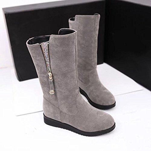 Euone Fashion Ladies Women Boots Flat Winter Warm Snow Shoes Gray dYad5v