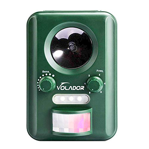 (VOLADOR Motion Activated Ultrasonic Animal Repeller Wild Animal Deterrent Scare Away Dog, Cat, Squirrel, Rat, Vole, Raccoon, Fox, Rodent, etc)