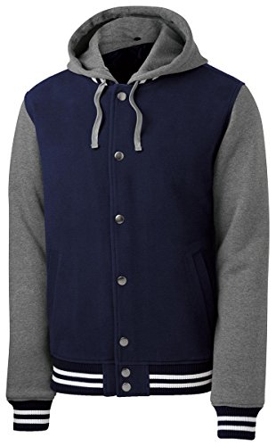 Vintage True Navy Heather (Sport-Tek Men's Insulated Letterman Jacket XL True Navy/ Vintage Heather)
