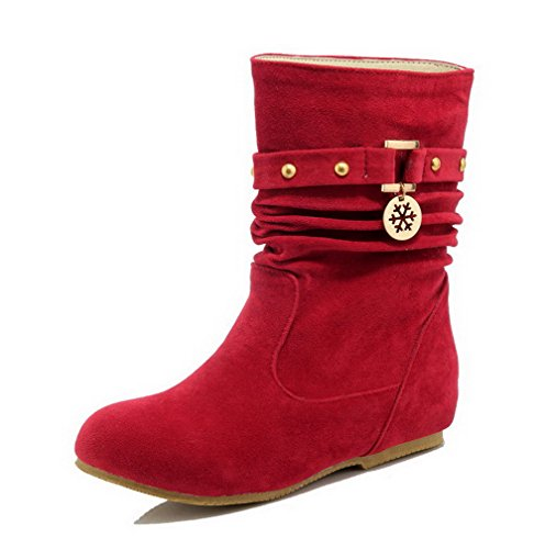Toe Boots AgooLar Low Round Suede Red Pull Imitated Heels Closed Low on Women's top C7wan7qxpX
