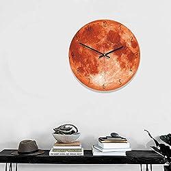 2019HoHo 3D Decorative Wall Clock Moon Pattern Silent Hanging Wall Clock Living Room Bedroom Office Round Decoration Clock