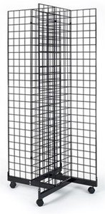 2'x6' Foot Wire Grid Panel 4-Sided Rolling Display 4-Way Tower with Cross Base