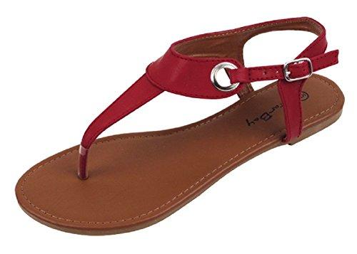 The Bay Sunville Womens Roman Gladiator Sandals Flats Thongs Burgundy 2207 8 B(M) US