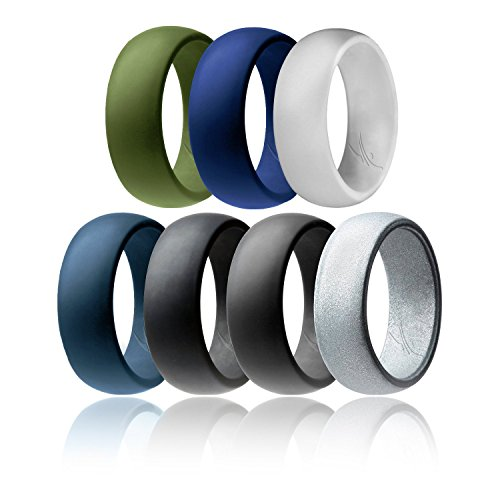 (ROQ Silicone Wedding Ring for Men Affordable Silicone Rubber Band, 7 Pack - Black, Grey, Silver, Light Grey, Dark Teal, Dark Blue, Dark Olive Green - Size 13)